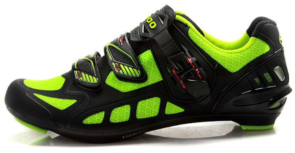 Tiebao Professional Road Bicycle Shoes Breathable Auto-Lock Skidproof Bike Shoes Green 42