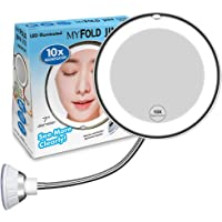 10X Magnifying Makeup Mirror, LED Mirror Adjustable Flexible Gooseneck & Locking Suction Cosmetic Mirror, Magnification Mirrors, 360° Swivel Wall Mirror, Vanity Mirror For Home Bathroom