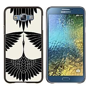 Cigüeña Arte Dibujo tinta blanca- Metal de aluminio y de plástico duro Caja del teléfono - Negro - Samsung Galaxy E7 / SM-E700