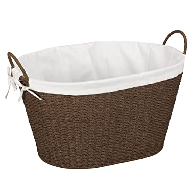 Household Essentials ML-7067 Paper Rope Wicker Laundry Basket with Handles | Comes with Removable Liner | Dark Brown Stain