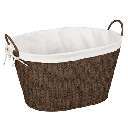 household essentials ml 7067 paper rope wicker laundry basket with handles comes with removable - Wicker Laundry Basket