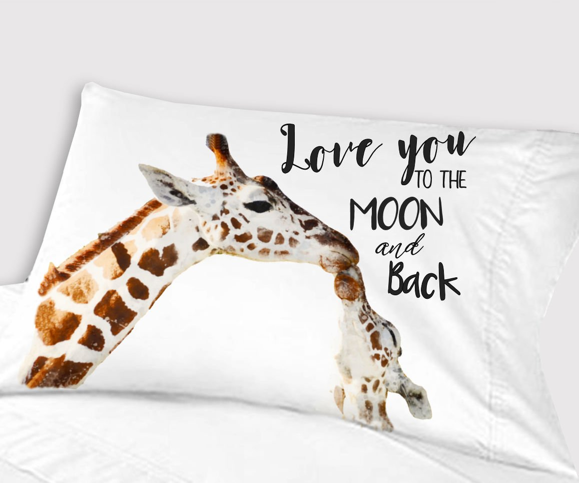 Personalized Big Giraffe Little Giraffe Love You to the Moon and Back Pillowcase (Standard)