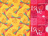 """Dragonfly Love Reversible Gift Wrap Roll with Gift Tags - 24"""" x 18'"""