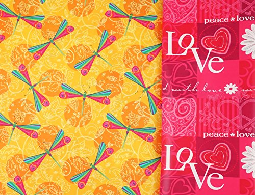 Dragonfly Love Reversible Valentine Gift Wrap Roll with Gift Tags ()