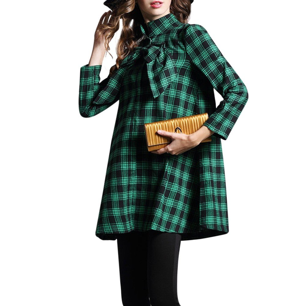 Farjing Womens Coat Clearance ,Womens Casual Long Sleeve Bowknot Outwear Buttons Plaid Pattern Lady Overcoat(S,Green)