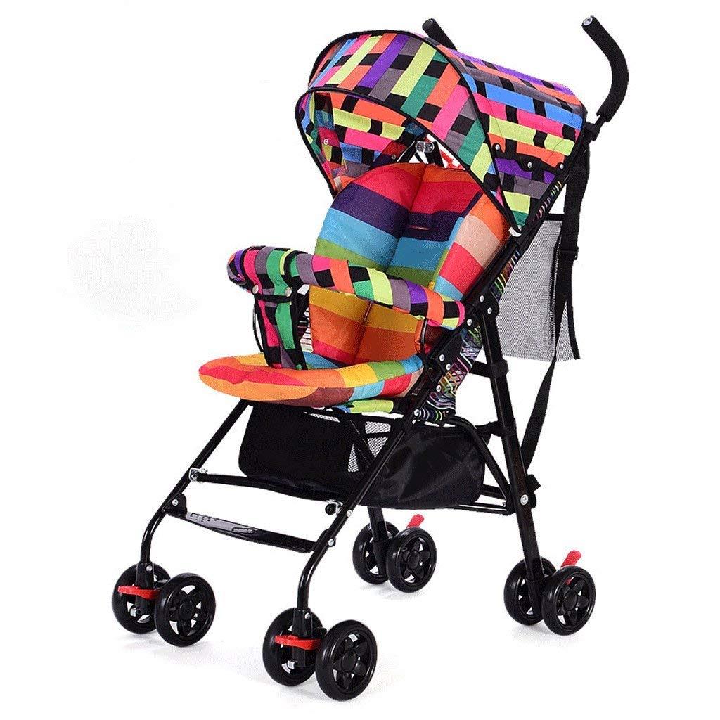 LIUCS Baby Strollers Ultra-Light Portable Folding Sit High Landscape Children's Wheelbarrow (Colorful) 61 47 97cm