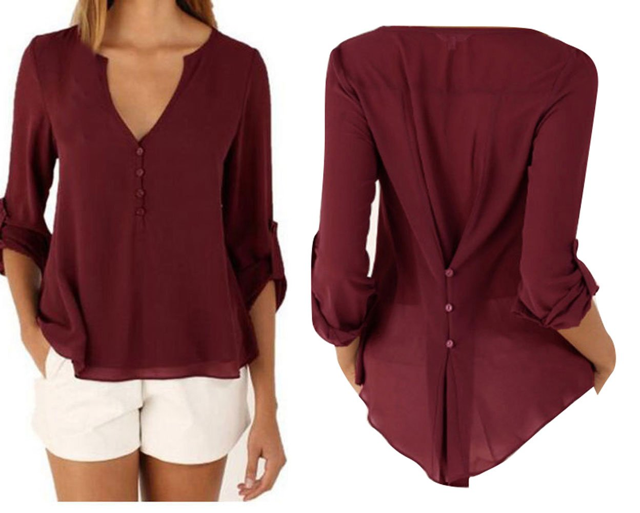 Pevor Women Casual Deep V-Neck Cuffed Sleeves Solid Chiffon Blouse Shirt Top, L,Red