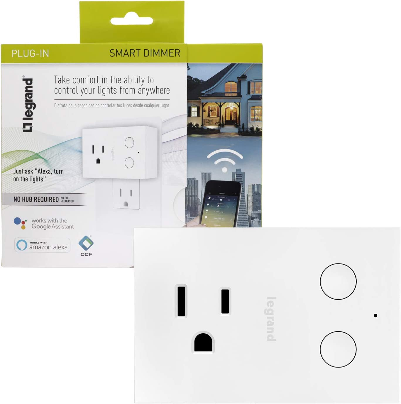 Legrand - Pass & Seymour Radiant WWP20CCV2 Enabled Plug-in Dimmer, White Smart Wi-Fi Switch