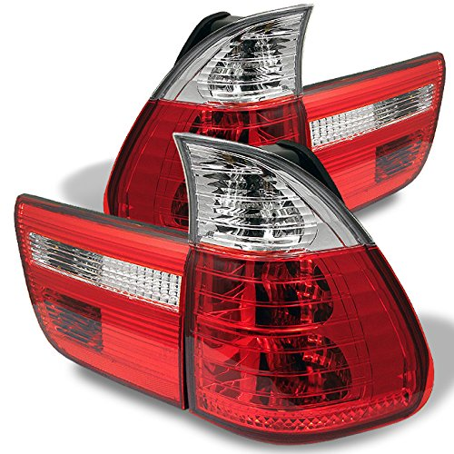 For 00-06 BMW E53 X5 SUV Red Clear Rear Tail Light Brake Lamps 4pcs Replacement Pair Left + Right (Lens Bmw X5 Headlight)