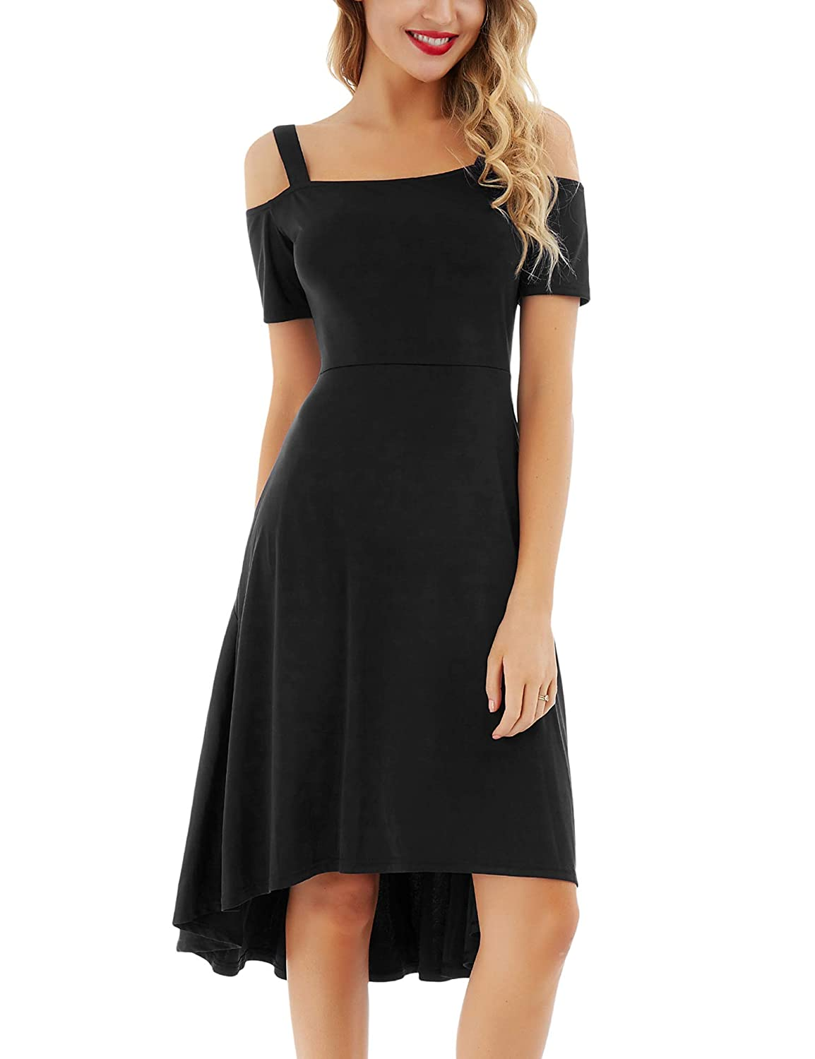 7a36382b1b Gorgeous women skater dress features cold shoulder neckline, high low  asymmetrical hem, elasticized trim, A-line and casual midi dresses with  short sleeves