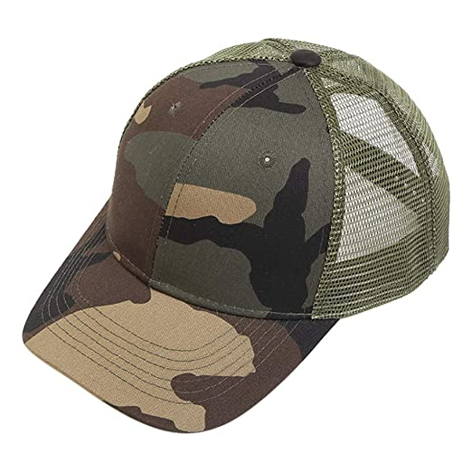 67aabf50affe1 Homeparty Camouflage Ponytail Messy Buns Trucker Plain Baseball Cap Visor Dad  Hat at Amazon Women s Clothing store