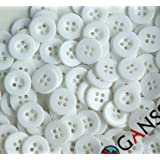 """GANSSIA 15mm(0.59"""") 4 Holes Sewing Buttons White Color Pack of 200"""