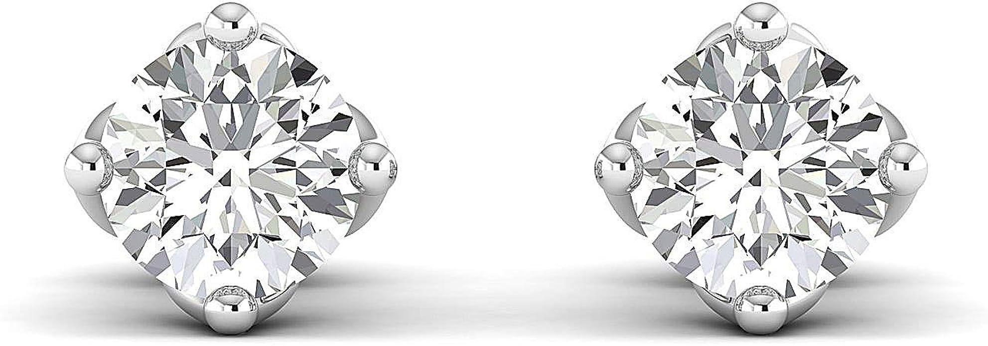 Stud Earrings for Women perfect Jewelry Gifts for Women Teen Girls Round Brilliant GH//VVS 14K rose-gold Earring Studs 0.3 to 4 Carat Moissanite Stud Earrings