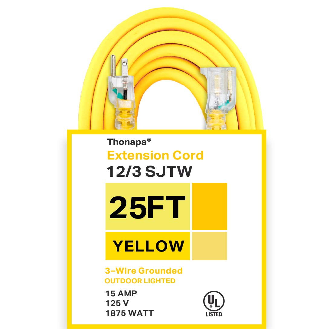 Thonapa 25 Foot Lighted Outdoor Extension Cord - 12/3 SJTW Heavy Duty Yellow Extension Cable with 3 Prong Grounded Plug for Safety - Great for Garden and Major Appliances