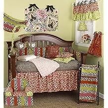 Cotton Tale Designs 100% Cotton Pink & Green Colorful Safari Jungle Zoo Animal Print and Stripes 10 Piece Baby Nurser Crib Bedding Set, Here Kitty Kitty