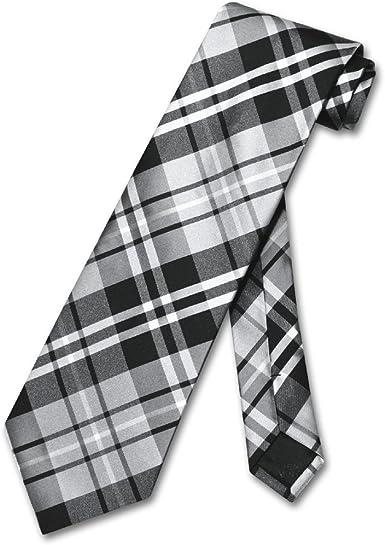 Mens Pink Diamond Plaid Pattern Regular Length Neck Tie /& Pocket Square Set