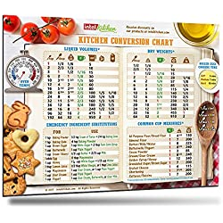 "Best Design Comprehensive Kitchen Conversion Chart 8.5""x11"" Big Fonts Magnet 50% More Data Easy to Read Magnetic Chef Accessories Cooking Baking Metric Measuring Measurement Conversion Gift"