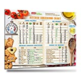 "Comprehensive Kitchen Conversion Chart 8.5""x11"" Big Magnet & Fonts 50% More Data Easy to Read Magnetic Chef Accessories Cooking Utensils for Baking Metric Measurement Conversions Unique New Year Gift"