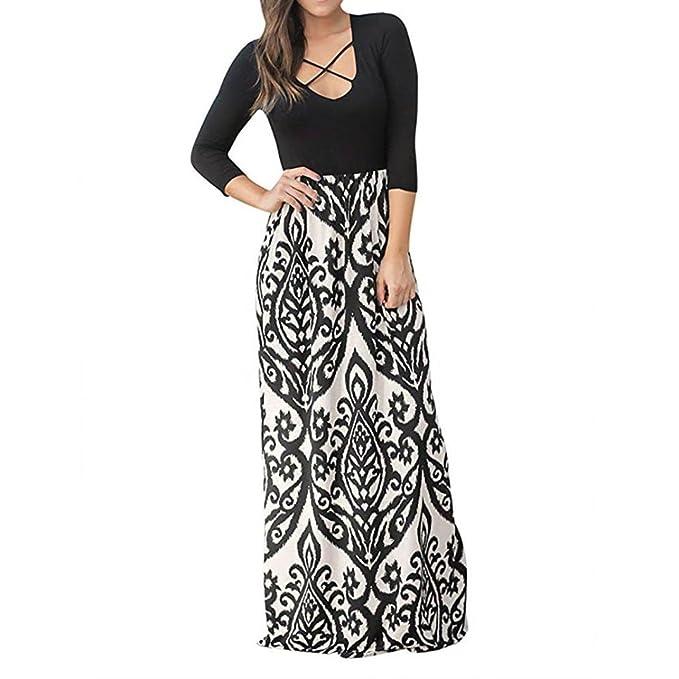 Clearance Sale! ZTY66 Women Crisscross Print Long Sleeve High Waist Boho Long Maxi Dresses (