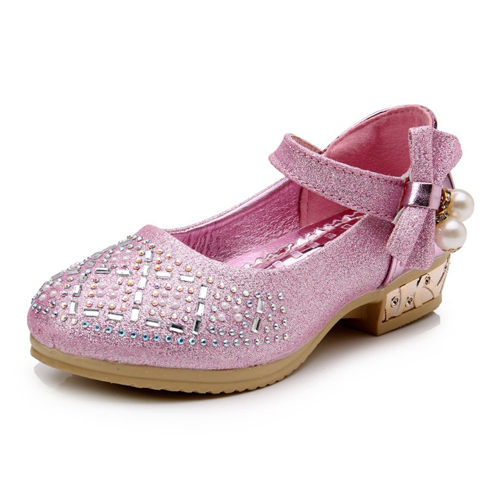 CYBLING Girl Kids Glitter Low Heel Mary Jane Rhinestone Party Princess Dress Shoes (Toddler/Little Kid)