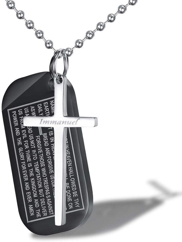 LaMei Yang Collar con una Cruz Colgante + Negro, de 43 mm * 22 mm