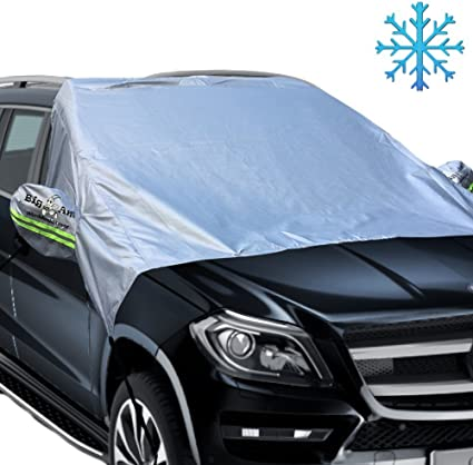 MIRROR COVER with ELASTIC HOOKS windshield frost ice CAR VAN FRONT WINDSCREEN