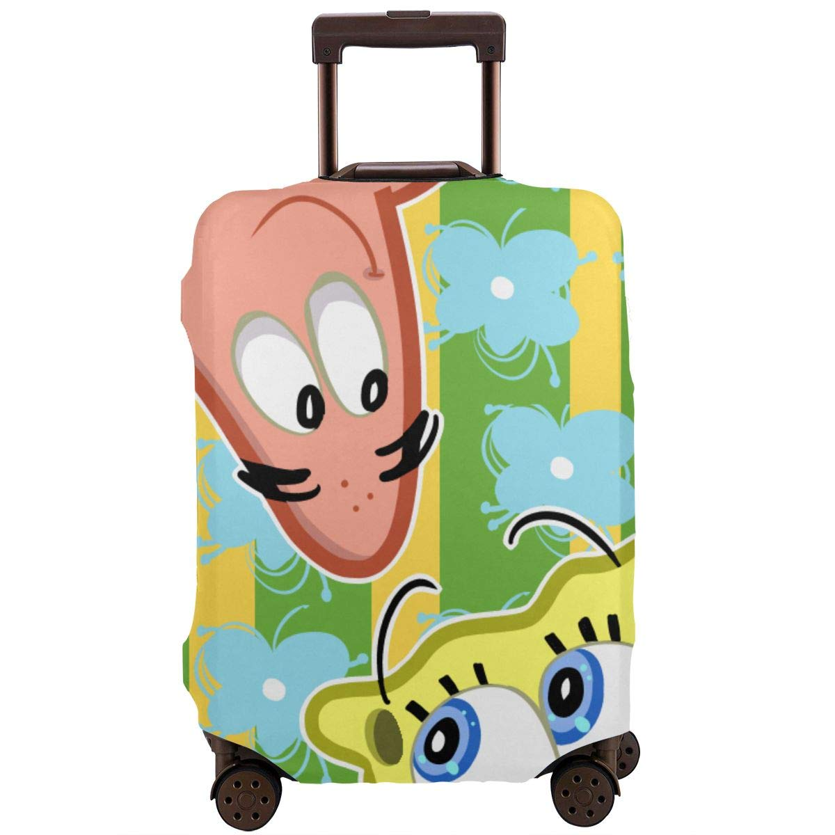 Travel Luggage Cover Cartoon Love Spongebob Squarepants Travel Luggage Cover Suitcase Protector Fits 26-28 Inch Washable Baggage Covers