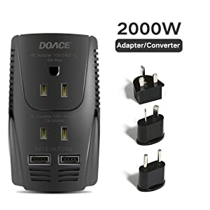 DOACE 2000W Voltage Converter for Hair Dryer Straightener Curling Iron, Step Down 220V to 110V Power Converter, Dual USB for Cell Phone, Laptop, Travel Adapter for UK/AU/US/EU Over 190 Countries