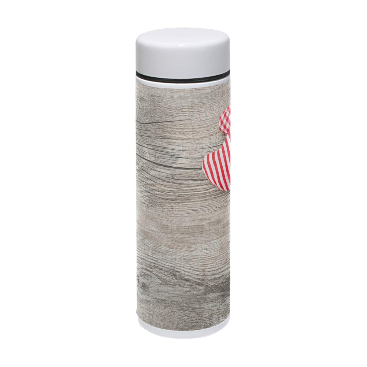 My Little Nest Stainless Steel Water Bottle Hearts On Wood Pattern Double Walled Vacuum Insulated 7.5 oz Bottle Hot 12 Hours Cold 24 Hours