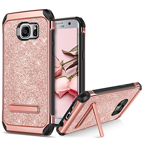 BENTOBEN Galaxy S7 Edge Case, Galaxy S7 Edge Case, 2 in 1 Glitter Bling Hybrid Soft TPU Hard Covers Kickstand Chrome Shockproof Bumper Protective Case for Samsung Galaxy S7 Edge, Rose Gold