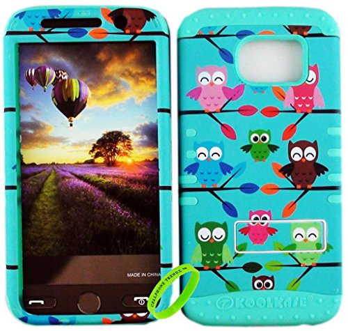 Multi Layer Design - Cellphone Trendz Dual Layer Soft Hard Hybrid High Impact Protective Case Cover for Samsung Galaxy S6 G920 - Multi Owl On Branch Design Hard Case on Mint Blue Skin