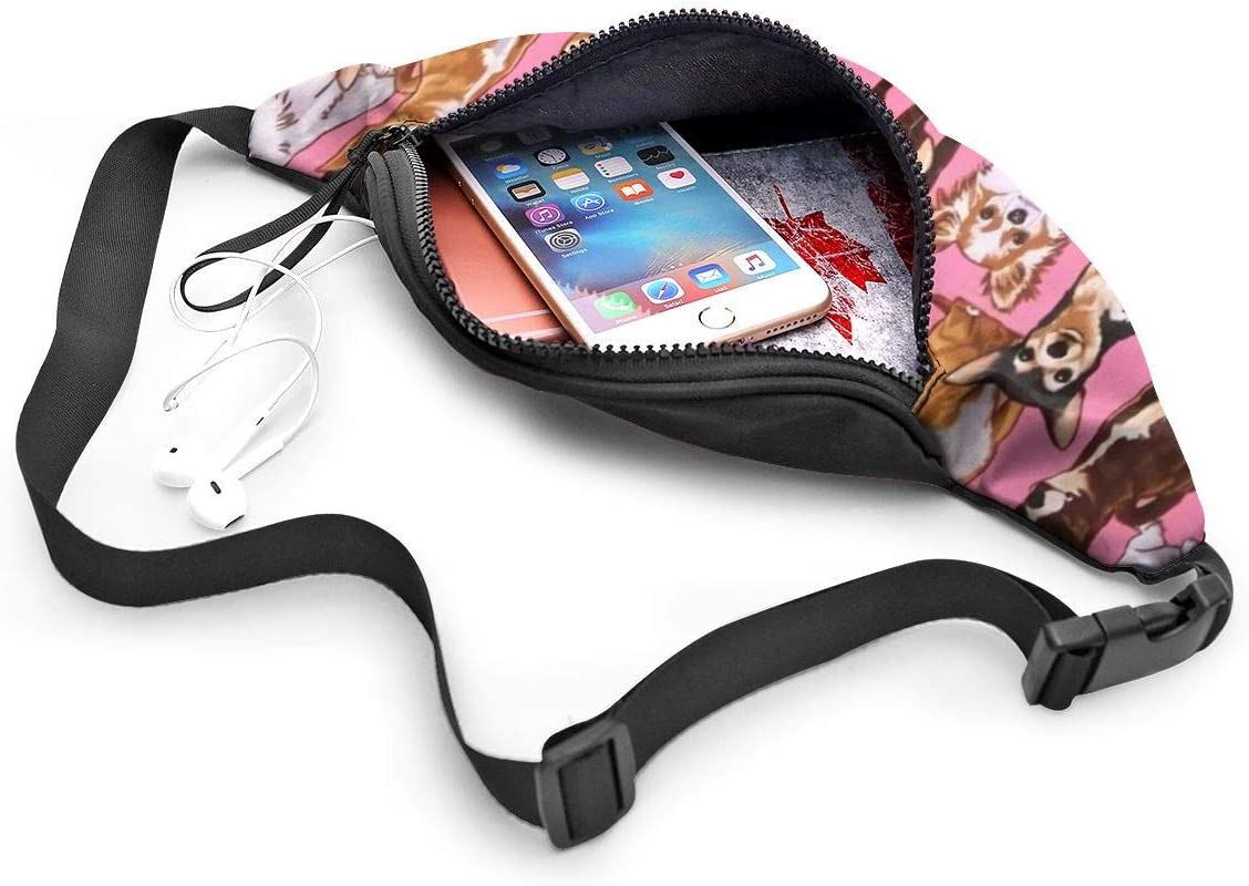 NHCY Chiwawas Dog Pink Waist Pack Tasca con cinghie regolabili con jack per cuffie per uomo e donna