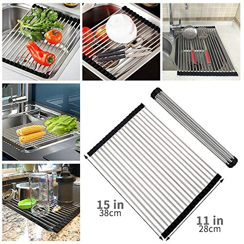Dish Drying Rack Mat For Sink Kitchen - Stainless Roll Up Co