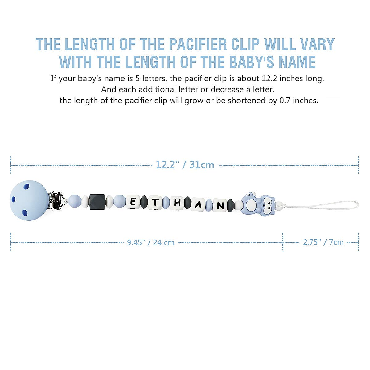 Pacifier Clip Personalized Name with Raccoon Teether MCGMITT Customized Binky Holder Teething Silicone Beads for Baby Girls Boys Pink
