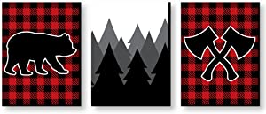Big Dot of Happiness Lumberjack - Channel the Flannel - Buffalo Plaid Nursery Wall Art, Rustic Kids Room Decor and Cabin Home Decorations - Gift Ideas - 7.5 x 10 inches - Set of 3 Prints