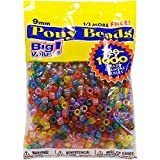 Darice Value Pack Pony Bead, 9mm, Transparent Multicolor, 1000-Pack (2 packs)