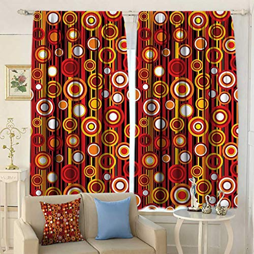 House Decor Curtains, Vertical Lines and Circle Pattern Stripes Nostalgia Contrasting Warm Colors Window Coverings for Living Room 2 Panels Set, 108'' W x 84'' L Red Orange Yellow