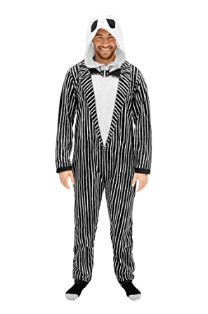 The Nightmare Before Christmas Jack Adult Union Suit Costume Pajama Onesie with Hood (Adult Small