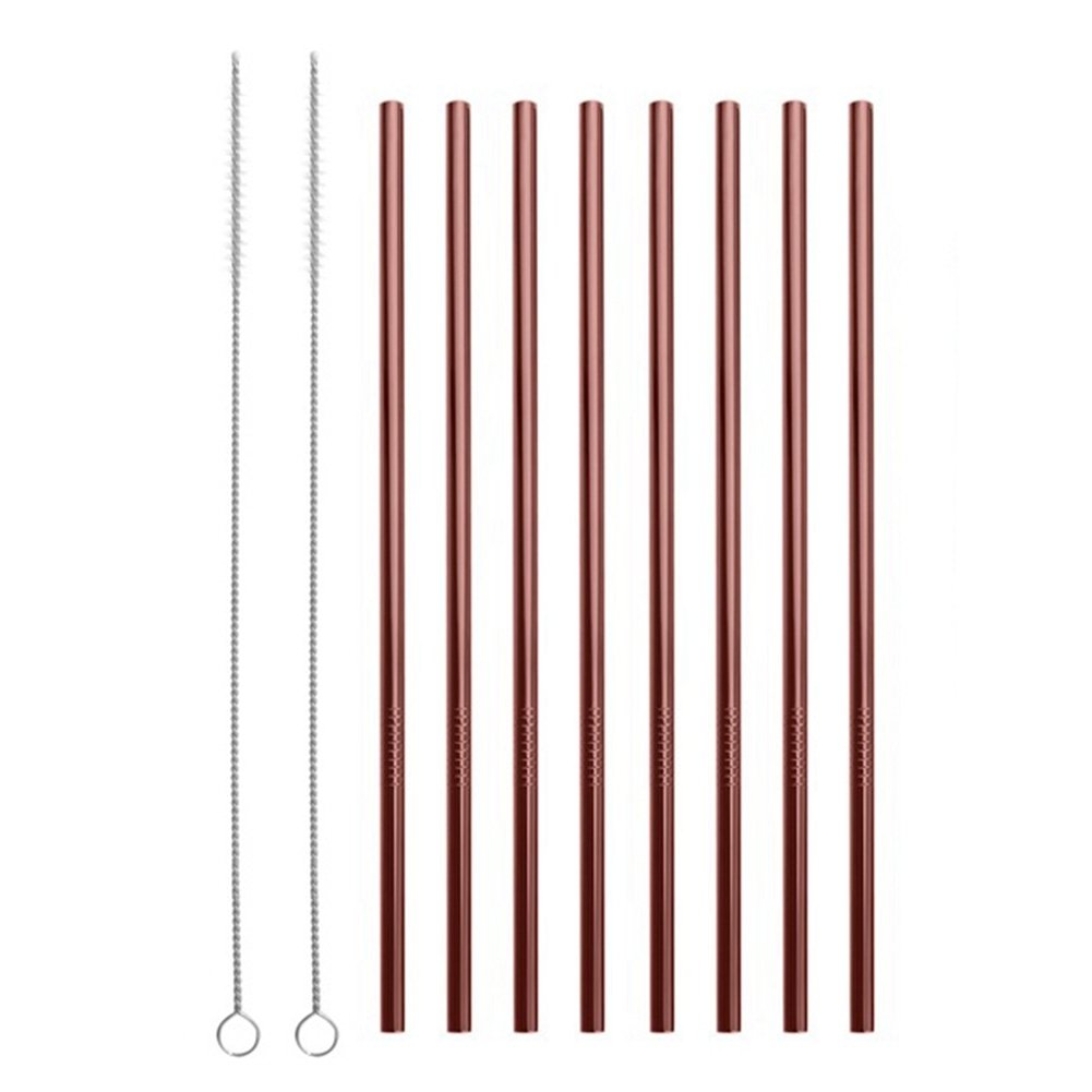 Reusable Stainless Steel Straws Set of 8 Rose Gold Metal Straight Drinking Straws with Cleaning Brush for Cups Mugs Tumblers Ramblers