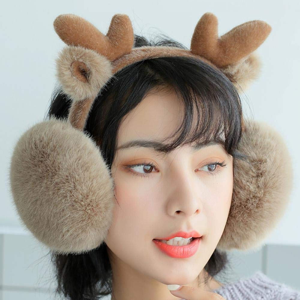 Womens Christmas Elk Antlers Muff Soft Plush Warm Winter Outdoors Ear Muff