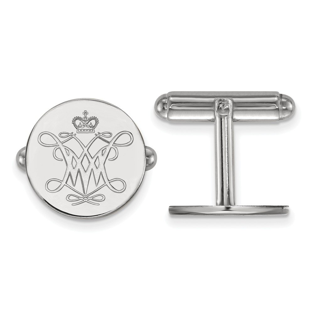 15mm x 15mm Solid 925 Sterling Silver William and Mary Cuff Link