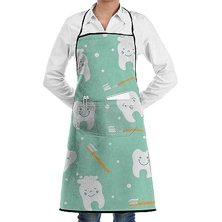 Happy Teeth - Delantal de chef de cocina ajustable con bolsillo y ...