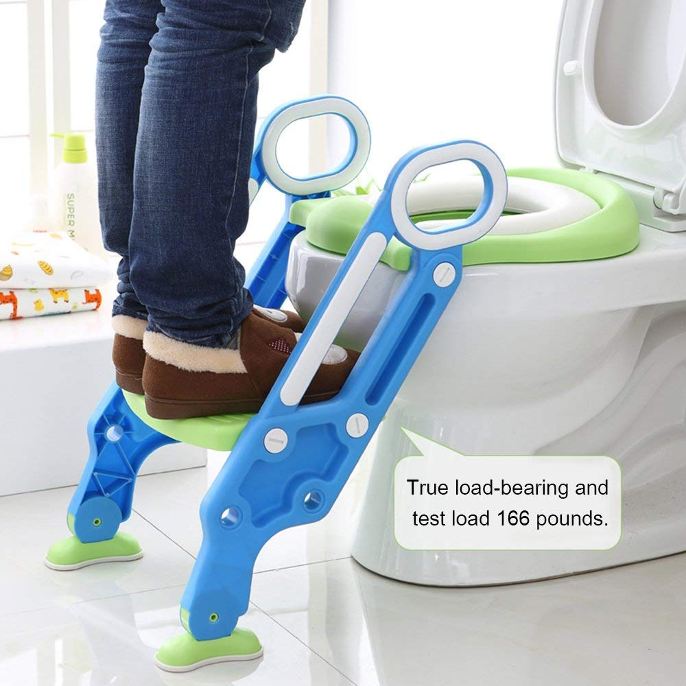 Blue Green Potty Training Seat with Step Stool Ladder for Kids Children Baby Adjustable Toddler Toilet Training Seat with Soft Cushion Foldable Sturdy and Non-Slip Wide Steps for Boys Girls