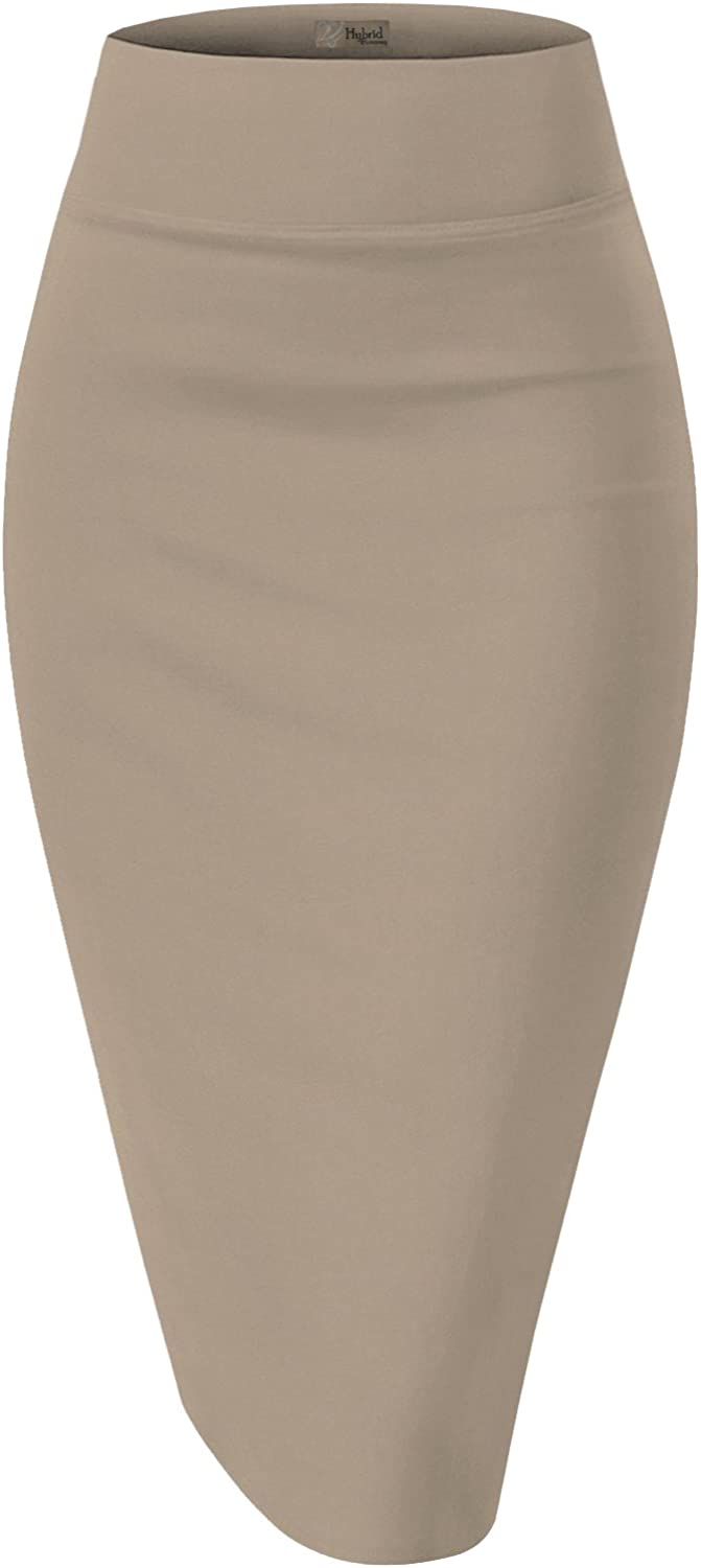 H&C Women's Elastic Waist Stretchy Office Pencil Skirt Made in USA