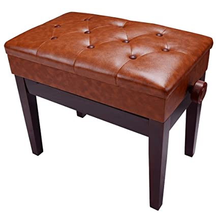 AW Piano Bench Stool Adjustable Height Leather Padded Wooden Keyboard Seat  with Music Storage Brown