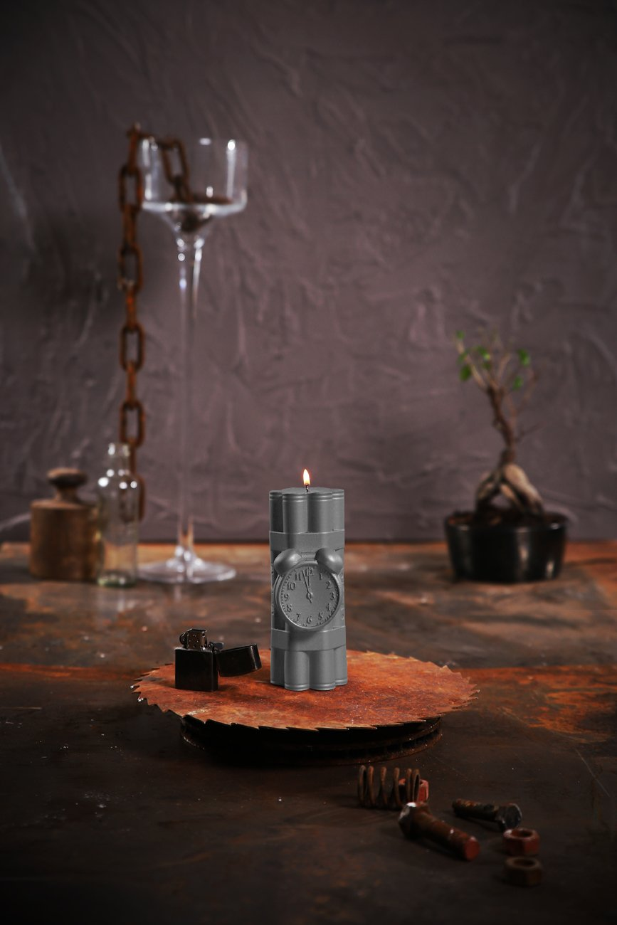 Dynamite Candle-Gray Matt Candellana Candles Candellana