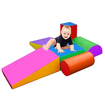 EOSAGA Climb and Crawl Soft Foam Play Set, Indoor Room Preschool Corner Baby Stage Slide Activity Play Structure, Motor Skills Early Development Gym Toy for Toddlers and Kids (Color B): Toys & Games
