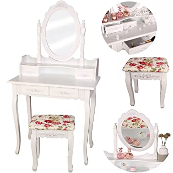 TRESKO® Schminktisch Frisiertisch Frisierkommode Kosmetiktisch  Make Up Tisch Mit Kippsicherung, Schminkhocker,