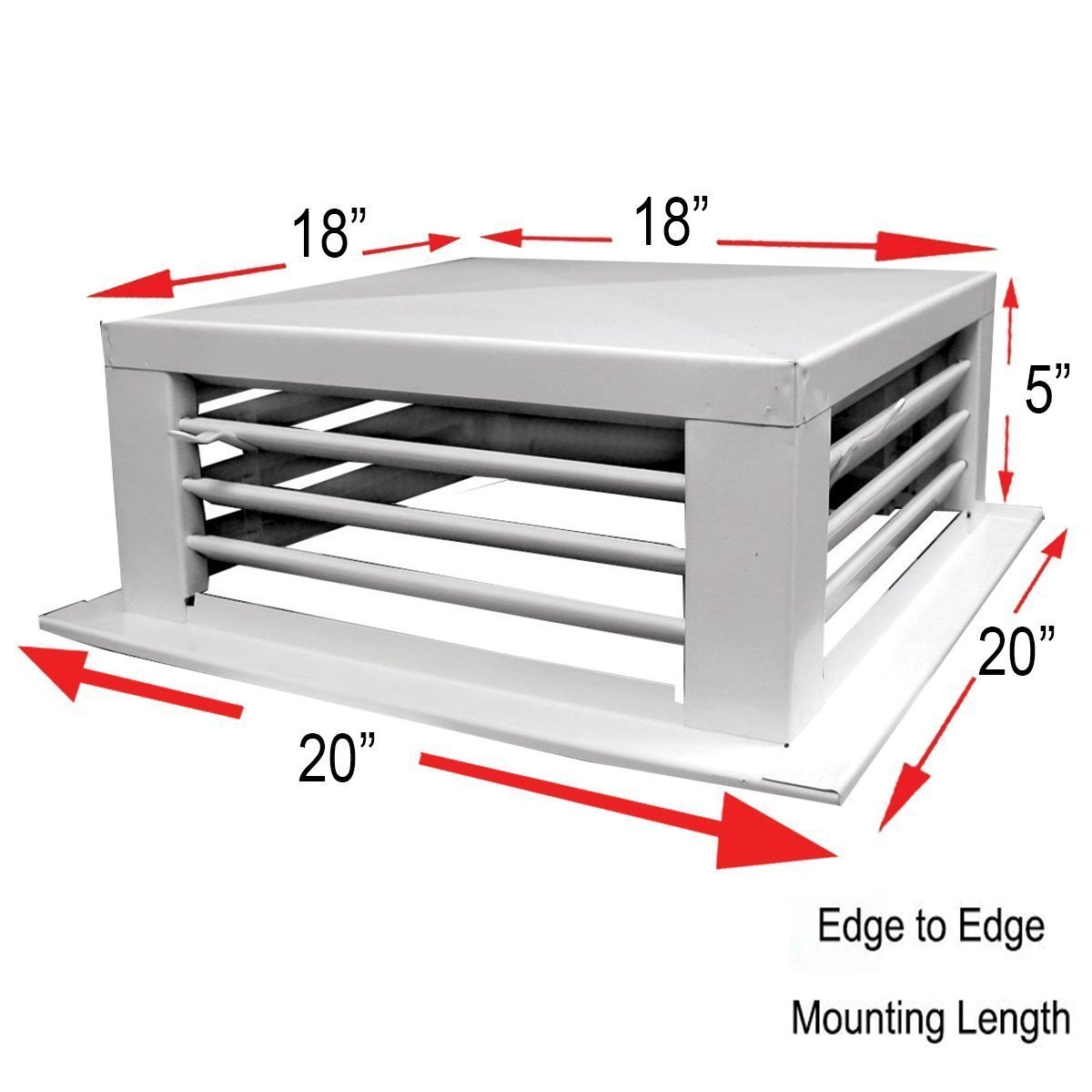 White Powder Coated 4-Way Adjustable Metal Diffuser for Evaporative/Swamp Cooler (18''x18''x5'')