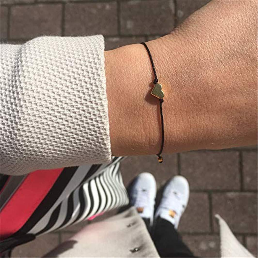 verstellbares Armband f/ür Paare SHIJIAN einfache handgemachte herzf/örmige geflochtene Armb/änder hellrosa Seil goldenes Herz
